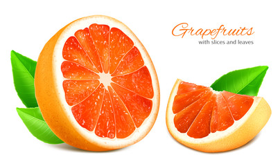 Cut half and slice grapefruit with leaves.