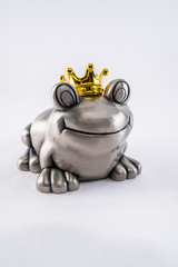 Valentine prince frog with golden crown.