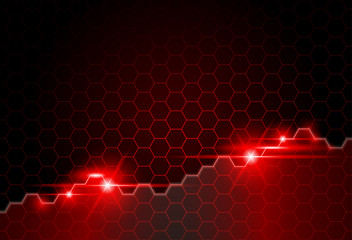 Red Abstract Background with Hexagonal Texture and Glowing Lights - Vector