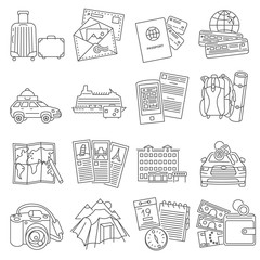 Vacation travel icons set line