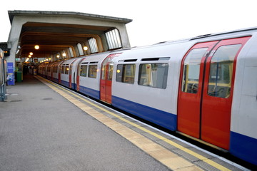 London Underground's Piccadilly Line train at Cockfosters station