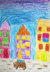 """Детский карандашный рисунок """"Город"""""""