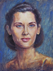 Oil painting Woman portrait, with big eyes and beautiful black hair