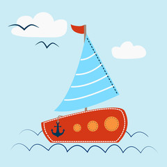 Sail Boat with waves and seagull