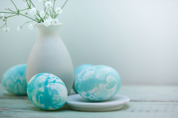 Easter eggs composition in watercolor sweet style