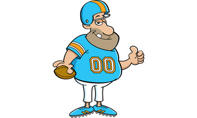 Cartoon illustration of a football player giving thumbs up.