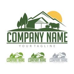 Farming Logo - Cattle Farm With View Mountain Design Logo Vector