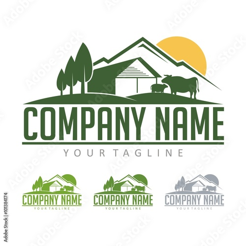 farming logo cattle farm with view mountain design logo vector