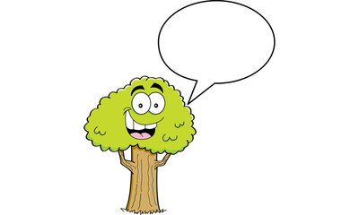 Cartoon illustration of a tree with a caption balloon.