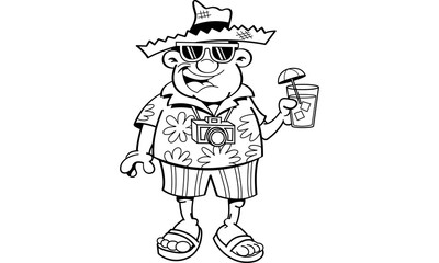 Black and white illustration of a tourist holding a drink.