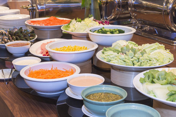 Thai food on the table in hotel.