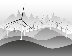 Wind electricity generators and windmills in countryside  landscape ecology illustration background vector