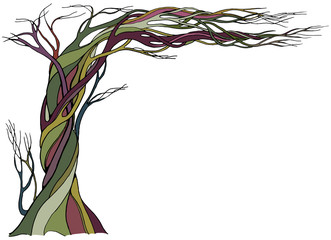 Ancient bare tree with branches bent over at ninety degrees. Color vector illustration with a space for text.