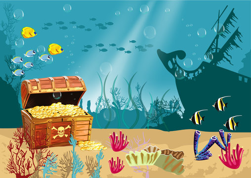 Underwater scenery with an open pirate treasure chest