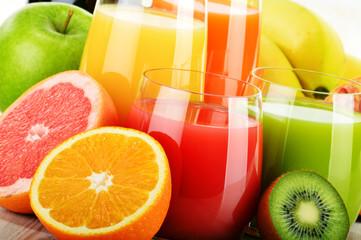 Glasses of assorted fruit juice. Detox diet - fototapety na wymiar