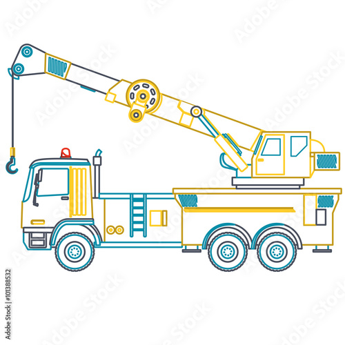 blue yellow outline crane with hook and arm nice isolated vector