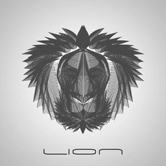 Gray line style lion