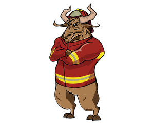 Bull Character - Fire Fighter