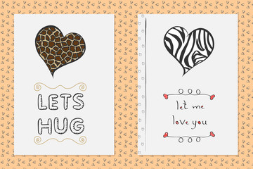 Set of Saint Valentines day hand drawn greeting cards. Poster templates with hearts and handwritten text.