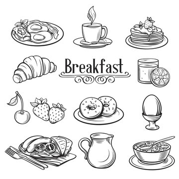 Hand drawn decorative icons breakfast .