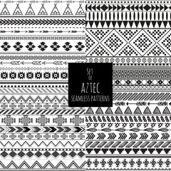 Set of four aztec seamless blackand white color patterns