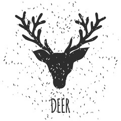 Christmas and New Year hand drawn greeting card with black sketch deer head silhouette