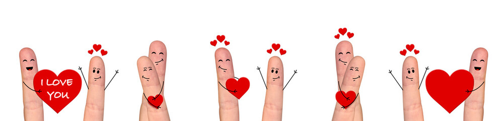 Happy finger couple in love celebrating Valentine day