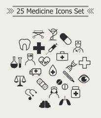 Set of line Medicine Icons in the circle
