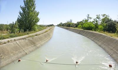 Acrylic Prints Channel Canal de riego en la provincia de Huesca, España