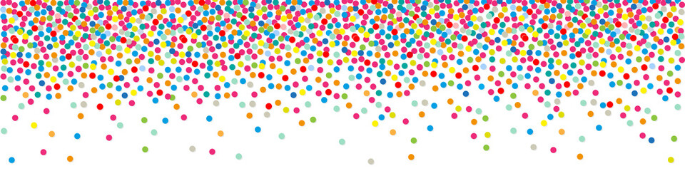 Polka dots paper colorful Confetti on a white background Banner.