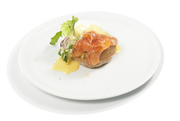 Skrэmbl with salted salmon home with Italian herbs at home