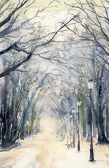 Watercolor painting showing footpath in a  winter city park.
