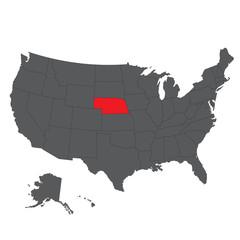 Nebraska red map on gray USA map vector
