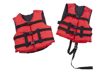 Youth and child life preservers isolated on white