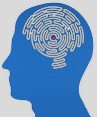 Cervello a forma di labirinto dentro una testa di profilo, testa vista di lato, sezione di un cervello a forma di labirinto