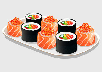 Sush rolls on a white porcelain dish, isolated on grey