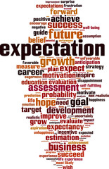 Expectations word cloud concept. Vector illustration
