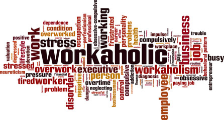 Workaholic word cloud concept. Vector illustration