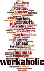 Workaholic word cloud concept. Vector illustration