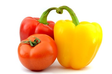 yellow and red pepper - paprika (isolated object on white background)