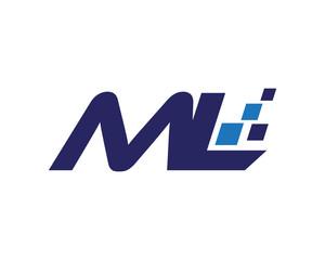 ML digital letter logo