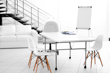 White table and chairs in office interior