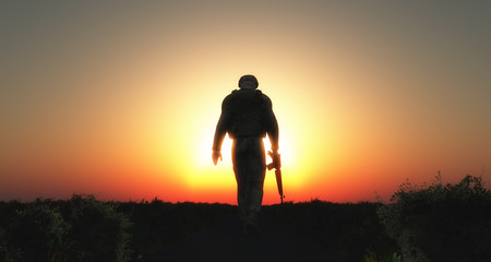 3D soldier walking at sunset