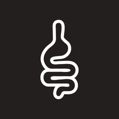 stylish black and white icon human intestine