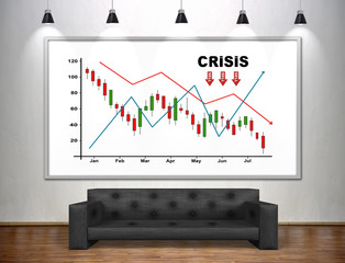 Drawing crisis chart on banner.