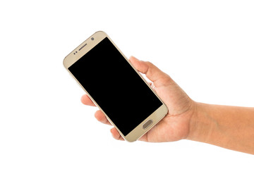 Close up hand of woman holding smartphone isolated on white
