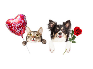 Wall Mural - Valentine Cat and Dog Hanging Over Sign