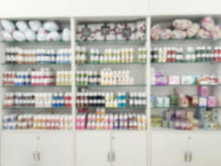 blurry medicine cabinet and store medicine and pharmacy drugstor