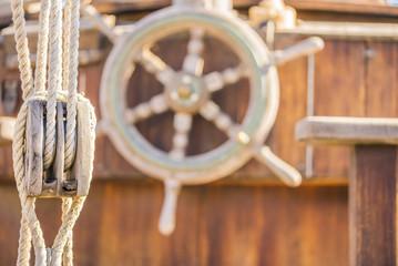 Altes Segelboot Talje Takelage Steuerrad Nostalgisch