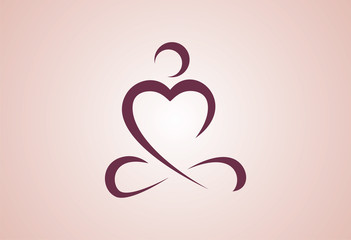 Love Yoga Logo Vector